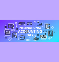international accounting day banner outline style vector image