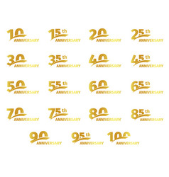 isolated golden color numbers icons collection vector image