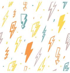 lightning seamless pattern orange flashes vector image