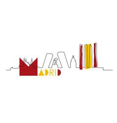 Madrid city skyline with spain flag colors vector