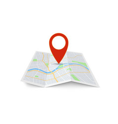 map with pin red direction pointer on folded city vector image
