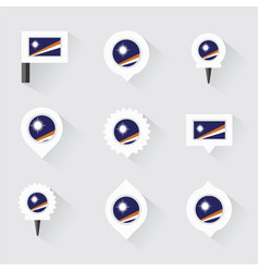 Marshall islands flag and pins for infographic vector