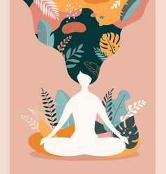 mindfulness meditation and yoga background in vector image