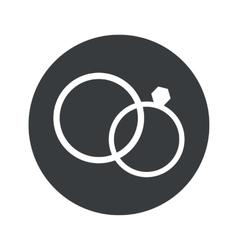 Monochrome round wedding rings icon vector