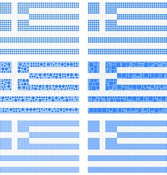 Mosaic Greece flag set vector