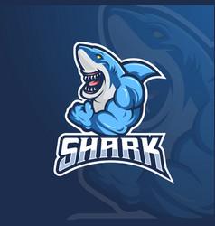 muscular shark vector image