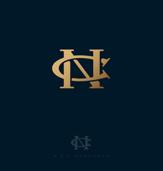 N and c monogram consist intertwined lines vector