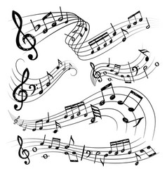 orchestra notes sign or sound symbols musician vector image