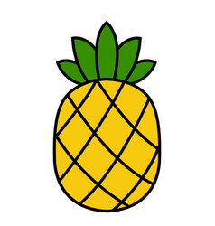 pineapple icon tropical fruit yellow vector image
