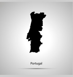 portugal country map simple black silhouette vector image