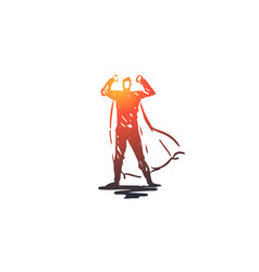 power energy fight man superhero concept hand vector image