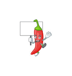 Red chili cute cartoon character style bring board vector