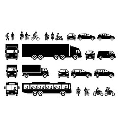 Road transports and transportation icons cliparts vector