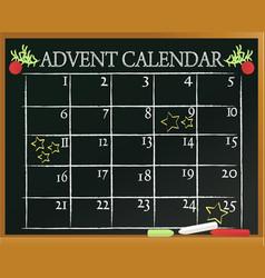 school blackboard with advent calendar vector image