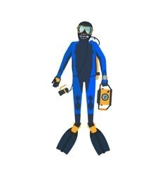 Scuba diver flat style vector image