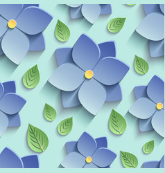 Seamless pattern with 3d blue flowers and leaves vector