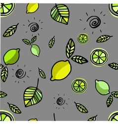 Seamless pattern with lemons on grey vector image