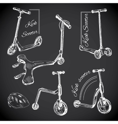 set hand drawn labels with Kick scooters Chalk vector image