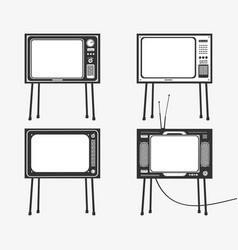 set retro tv icons vector image