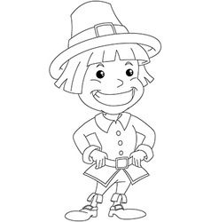 Settler Boy For Thanksgiving Coloring Page vector