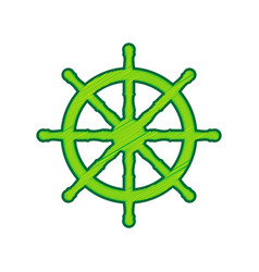 ship wheel sign lemon scribble icon on vector image