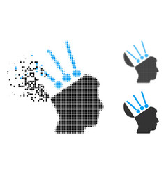 Shredded dotted halftone open mind interface icon vector