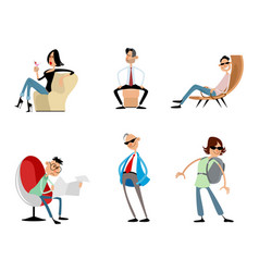 Six funny trendy characters vector