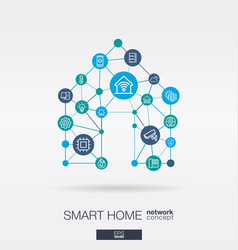 smart home integrated thin line icons digital vector image
