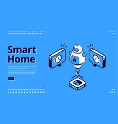 smart home isometric web banner ai robot iot vector image