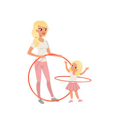 Sporty mother and her cute daughter with hula-hoop vector