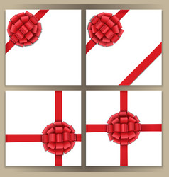 square template set with red bow and ribbon vector image