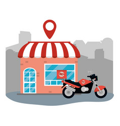 store with delivery motorcycle vector image