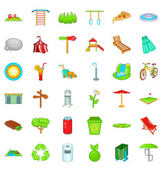 Summer park icons set cartoon style vector