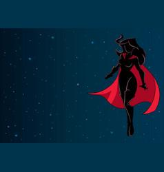Superheroine flying in space silhouette vector