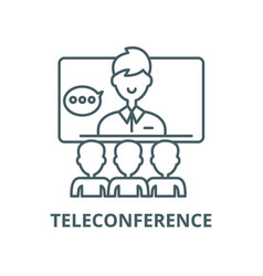Teleconference line icon linear concept vector