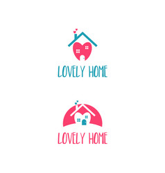 template icon house with heart vector image