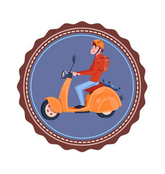 Template vintage logo with young man riding retro vector