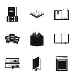 Textbooks icons set simple style vector