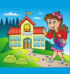 Theme with girl and school building vector