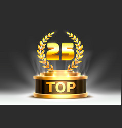 Top 25 best podium award sign golden object vector