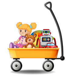 Toys in yellow wagon vector