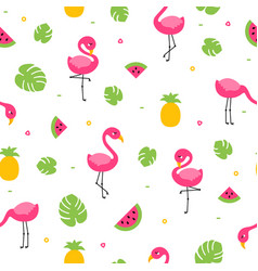 Tropical colorful flamingo seamless pattern with vector