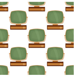 tv retro seamless pattern colorful old television vector image