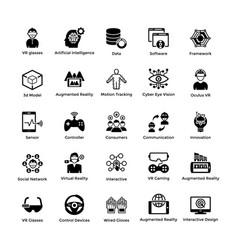Virtual reality solid icons pack vector