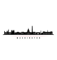 washington city skyline horizontal banner vector image