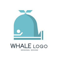whale logo original design badge can be used for vector image