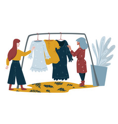 women shopping clothes on rack stylish clothing vector image