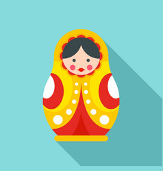 Wood nesting doll icon flat style vector