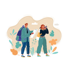 young couple with travel bag and map traveling vector image