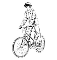 young girl on the bicycle vector image